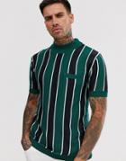River Island Knitted Top With Turtleneck With Green Stripes