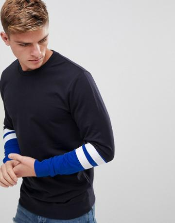 Only & Sons Crew Neck Sweat With Stripe Sleeve Detail - Navy