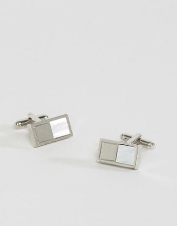 Asos Wedding Cufflink With Mother Of Pearl - Silver