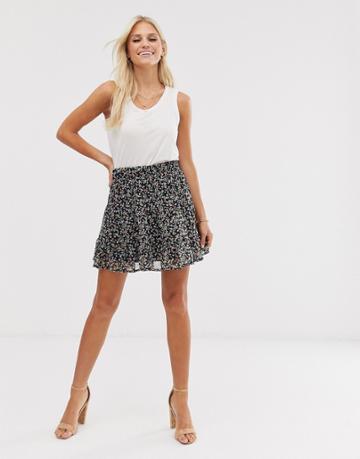 Vero Moda Ditsy Floral Mini Skirt - Black