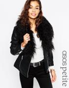 Asos Petite Biker Jacket With Oversized Faux Fur Collar - Black