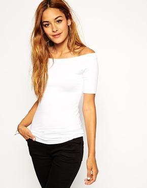 Asos Tunic Top With Off Shoulder - White