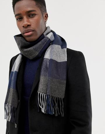 Moss London Scarf With Herringbone Design - Gray