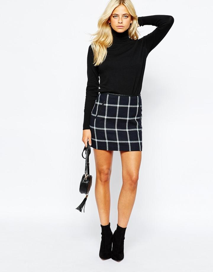Oasis Checked Mini Skirt - Multi Blue