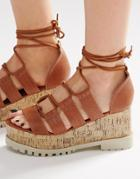 Asos Touche Lace Up Wedge Sandals - Tan