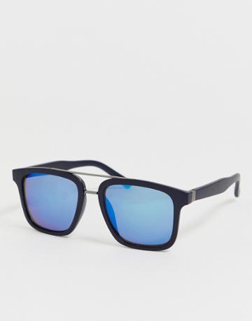 Jack & Jones Squared Sunglasses In Black - Black