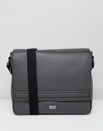 Ted Baker Tokey Messenger Bag In Crossgrain - Gray