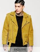 Reclaimed Vintage Suede Biker Jacket - Mustard