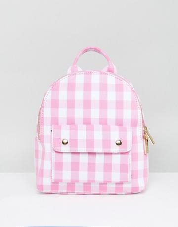Skinnydip Pink Gingham Mini Backpack - Pink