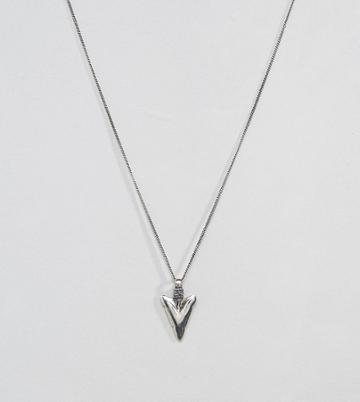 Asos Sterling Silver Arrow Necklace - Silver