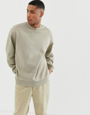 Asos Design Oversized Sweatshirt In Light Green - Green