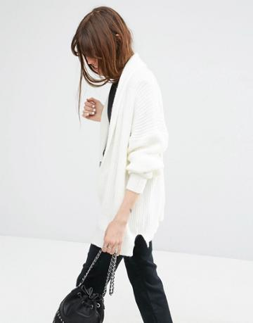 Asos Chuck On Cardigan In Rib - Cream