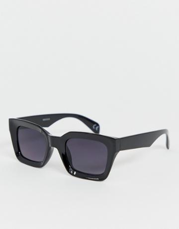 Asos Design Square Sunglasses With Plastic Concave Black Frame And Black Lenses - Black