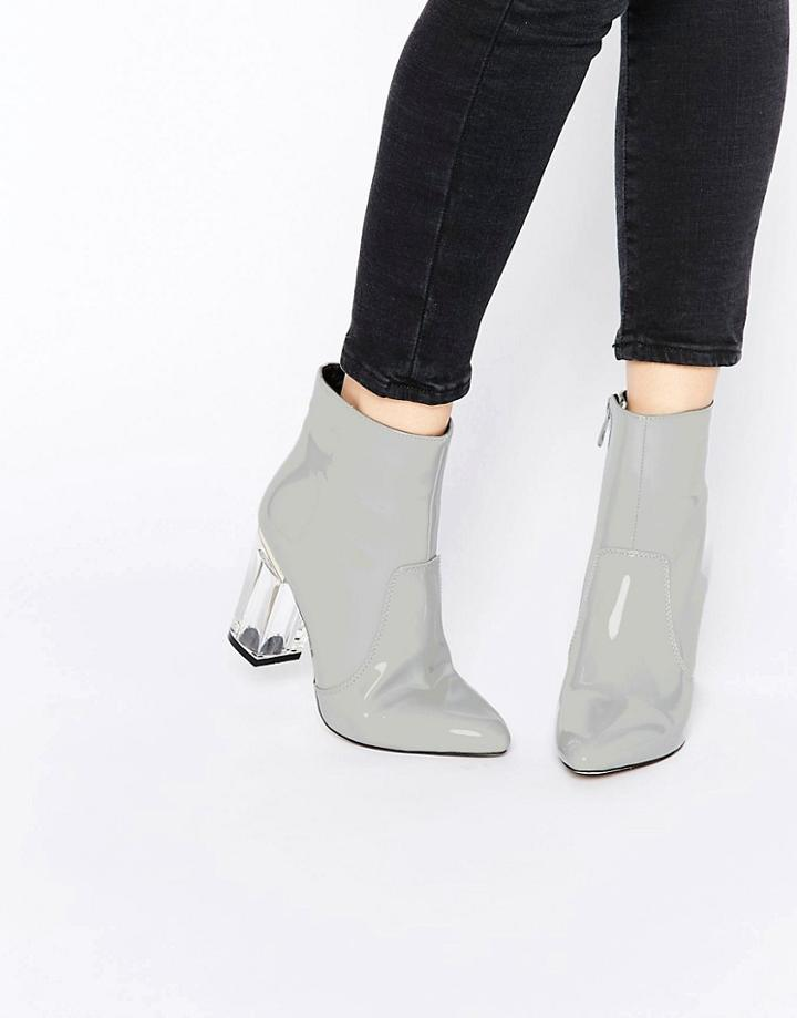 Public Desire Claudia Clear Heeled Patent Boots - Gray