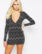 Motel Metallic Chevron Body-conscious Dress With Plunge Neck - Silver