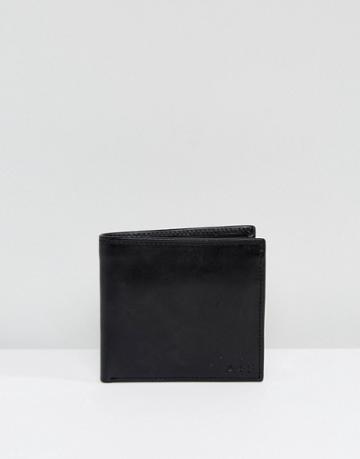 Abercrombie & Fitch 2 Fold Leather Wallet Change Pocket In Black - Black