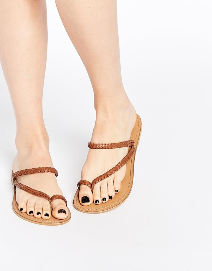 Asos Forecast Wide Fit Leather Flat Sandals - Tan