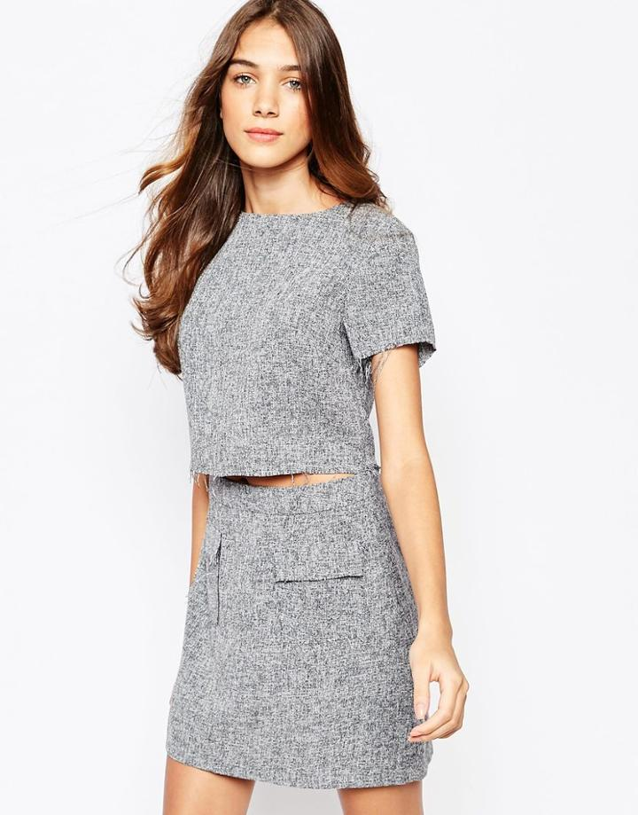 Lola May Tweed Crop Top With Raw Edge Co-ord - Gray