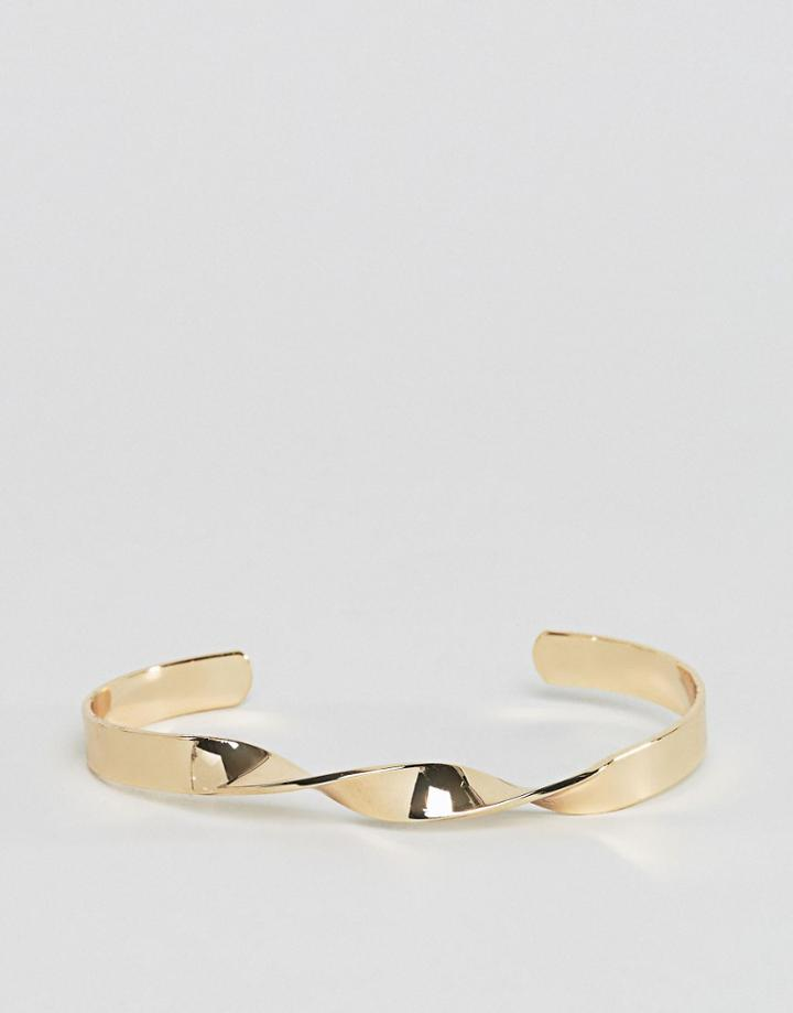 Asos Twisted Bangle In Shiny Gold - Gold