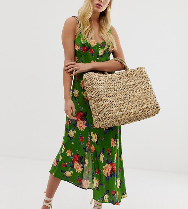 South Beach Exclusive Straw Beach Bag - Beige