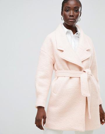 Selected Femme Wrap Wool Coat-pink
