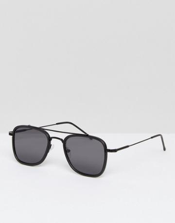 New Look Square Sunglasses With Metal Brow Bar In Black - Black