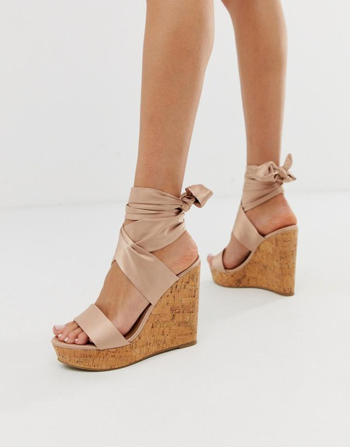 Asos Design Twist Tie Leg Cork Wedges-beige