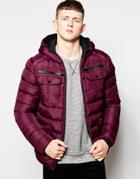 Brave Soul Padded Jacket With Hood - Red