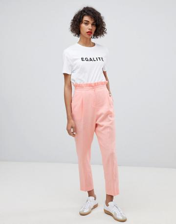 Asos Design Tailored Casual Linen Pants With Frill Waist - Pink