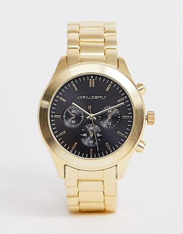 Asos Design Gold Plated Bracelet Watch With Black Dial - Gold