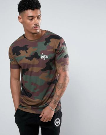 Hype T-shirt In Camo With Small Logo - Green