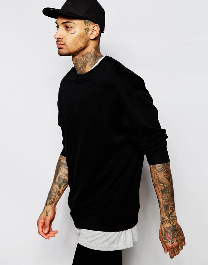 Asos Oversized Sweatshirt In Black - Black