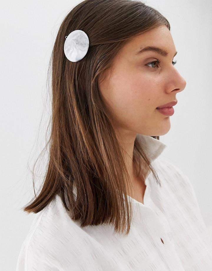 Asos Design Barrette Hair Clip With Marbled Effect-multi