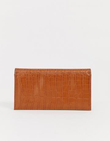 Asos Design Croc Effect Foldover Ladies' Wallet - Tan
