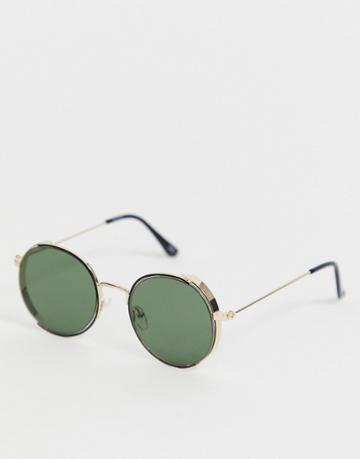 Asos Design Round Sunglasses With Gold Side Capping Detail And Smoke Lenses - Gold