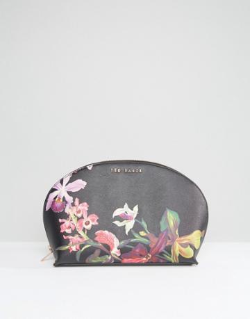 Ted Baker Floral Print Makeup Bag In Black - Black