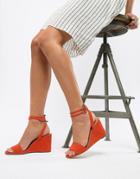 Asos Design Holt Sandal Block Heeled Wedges-red