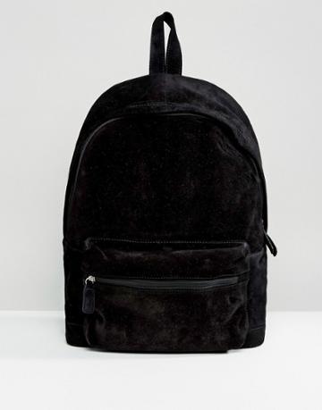Asos Suede Backpack In Black - Black