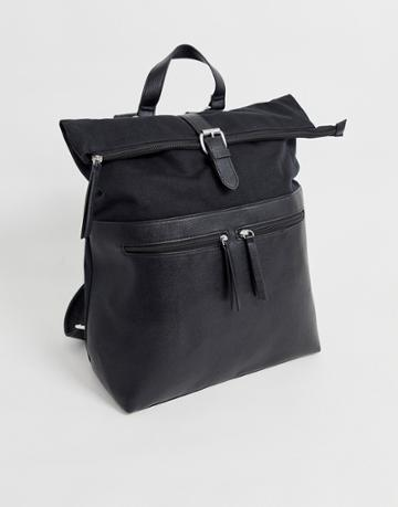 Asos Design Backpack In Black With Faux Leather Front Double Pockets - Black