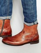 Hudson London Plant Leather Zip Boots - Tan