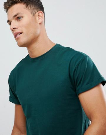 New Look T-shirt With Roll Sleeve In Green - Green