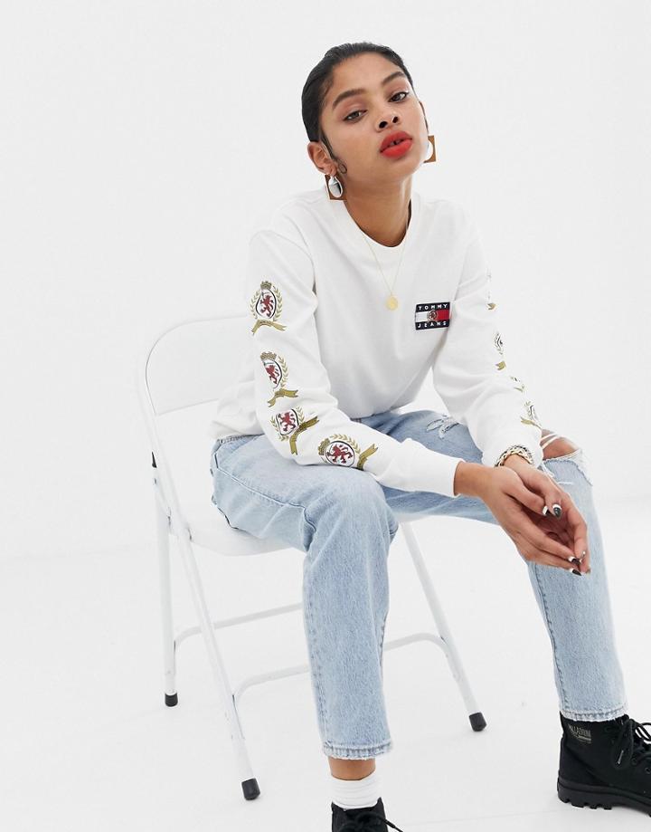 Tommy Jeans Capsule Crest Logo Longsleeve T-shirt - White