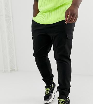 Asos Design Plus Skinny Cargo Pants In Black - Black