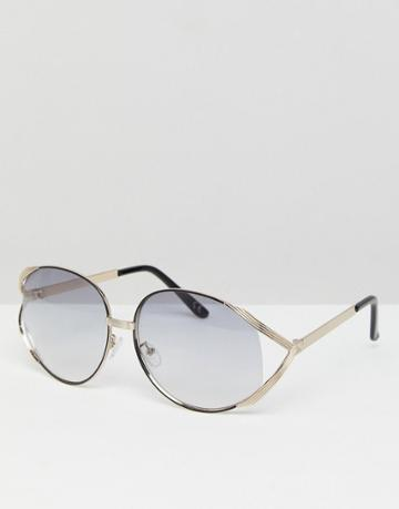 Asos Vintage Oversized Fashion Sunglasses In Light Smoke Lens - Gray
