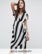Asos Maternity Dress In Stripe With Drape Front - Multi