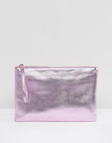 South Beach Pink Metallic Clutch Bag - Pink