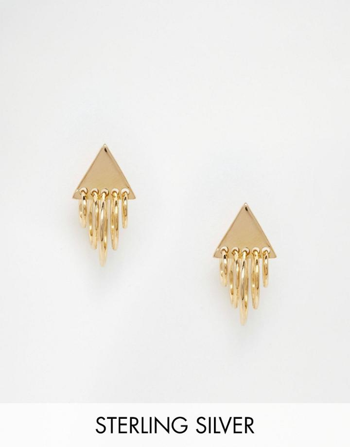 Asos Gold Plated Sterling Silver Triangle Charm Earrings - Gold