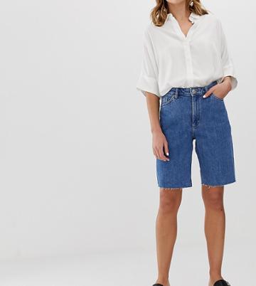 Monki Straight Leg Longline Denim Shorts In Blue Wash - Blue