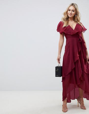 Asos Design Cape Back Dipped Hem Maxi Dress - Red