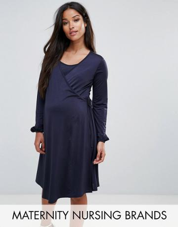 Bluebelle Nursing Wrap Front Dress With Bell Sleeve - Navy